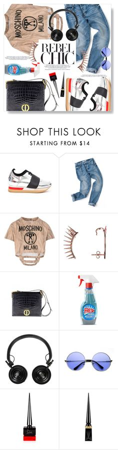 """Rebel Chic"" by vintagecarwen ❤ liked on Polyvore featuring Philippe Model, Moschino, Latelita, Christian Dior, Master & Dynamic, ZeroUV, Christian Louboutin and vintage"
