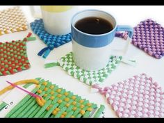 Diy Kits, Diy And Crafts, Weaving, Tapestry, Youtube, Cup Holders, Tapestries, Loom, Trapillo