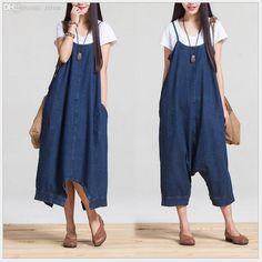 Wholesale-women jumpsuits and rompers, New Fashion oversize loose Jumpsuit Denim Overalls Casual capris Girls Pants Jeans S-XL,D3035