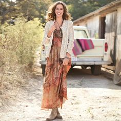 Great for Nashville. Althea Silk Maxi Dress So easy to wear, our chiffon dress flatters with fluttery dolman sleeves, deep V-neck gussett and elasticized empire waist with back ties. Gypsy Style, My Style, Unique Clothes For Women, Country Girl Style, Girl Fashion, Fashion Outfits, Made Clothing, Playing Dress Up, Chiffon Dress