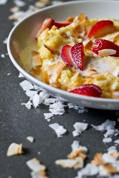 This looks divine! Coconut Cream Strawberry Polenta from Edible Perspective