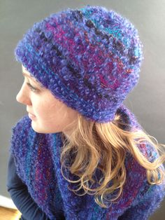 Hat and scarf, wool, cotton, rayon. One generous size