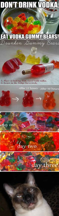 Why make Jello Shots when you can make Vodka Bears??? So easy!