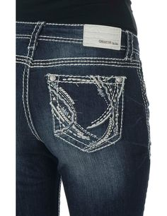 Grace in LA WOmen's Dark Wash with Silver Embroidered Details Open Pocket Boot Cut Jeans   Cavender's