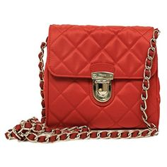 b28f20fbb68d BP0623 Rosso Red Tessuto Impuntu Pattina Nylon and Leather Chain Crossbody Bag  Leather Crossbody, Chain