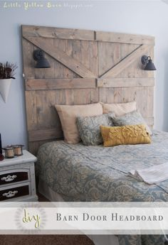 Make a Barn Door Headboard. or something similar. I have so little space for night stands or placing wall lights, great idea to install the lights to the headboard.