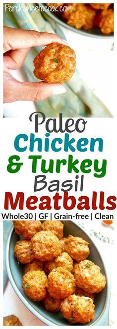 Paleo Chicken & Turkey Basil Meatballs {Whole30}| Perchance to Cook, www.perchancetocook.com