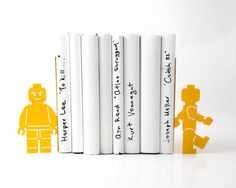 Bookends shelf decor Lego men read too II  these bookends will hold your child's favorite books. Great for kids' room