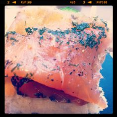 Himalayan salt cured salmon with lemon zest dill crust on bread