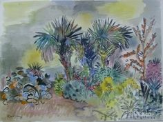 Karl Schrag (1912-1995) Palm tres, gray and yellow sky