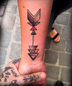 colour version of arrow tattoo.... So great! Color tattoo geometric