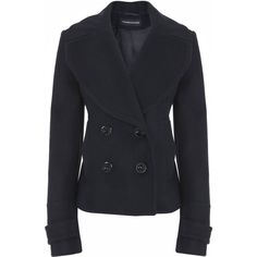 large collar pea coat ($22) ❤ liked on Polyvore featuring outerwear, coats, jackets, tops, women, pea coat, double breasted peacoat, double breasted coat, cropped pea coat and double-breasted pea coat