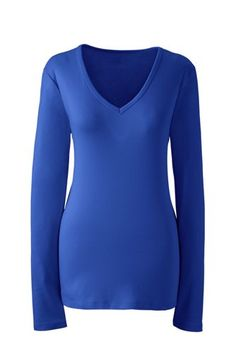 Women's+Shaped+Cotton+V-neck+T-shirt+from+Lands'+End