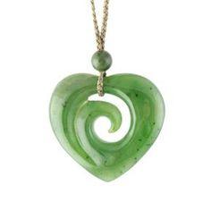 Canadian Nephrite Jade Pendant Koru/Heart 2890 by TheJadeMine