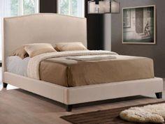King Size Platform Bed in Light Beige Linen, Contemporary Style, Nailhead Trim #BraxtonStudio #Contemporary