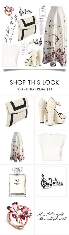 """Wonderful in white"" by puljarevic ❤ liked on Polyvore featuring Barneys New York, Valentino, Chicwish, Puma, Chanel, Gucci, white, floralprint, maxiskirts and summerstyle"