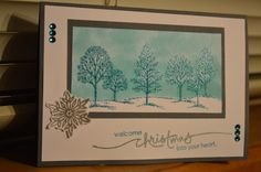 Christmas card using a masking technique with embossed trees followed this tutorial https://www.youtube.com/watch?v=DVLUjK325c4