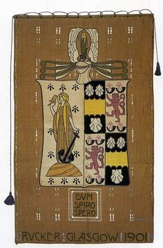 Embroidered banner by Jessie Newbery and Ann Macbeth, Glasgow Girls, Glasgow School Of Art, Vintage Embroidery, Embroidery Art, Art Nouveau Architecture, Dream Art, Arts And Crafts Movement, Fabric Wallpaper, Textile Art