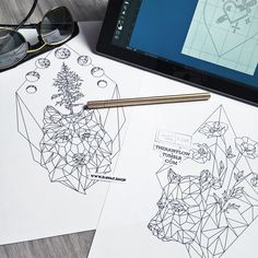 Wolf bear geometric tattoo - coloring books are getting ready!