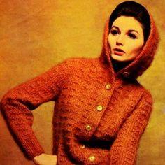 Vintage Knitting Pattern PDF    Hooded Cardigan  Hoodie Jacket  Retro
