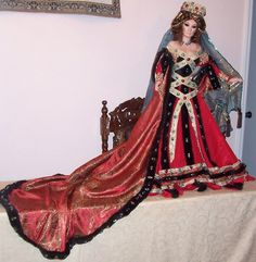 """38"""" Large Porcelain Queen Margot by Cynthia Sharp 