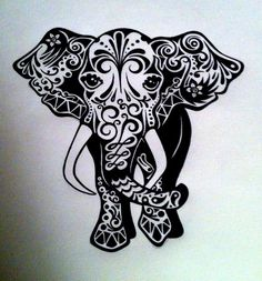 Custom Elephant Ink Drawing Black & White Commissioned by tarren, $66.00