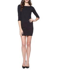 David Lerner Solid Low Back Dress Women's Black X-Small