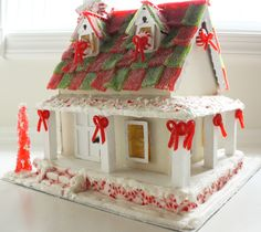 Gingerbread House Decorating Inspiration- the little twizzler bows & shingles on the roof are great