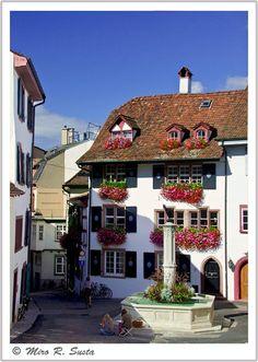 A typical old Basel house in de old Basel town, de little fountain at de angle of de Gemsberg street n Unterer Heuberg. Basel, Basel Stadt_ West Switzerland
