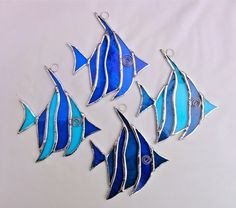 Stained Glass Angel Fish Suncatcher - Blue and Turquoise £10.00