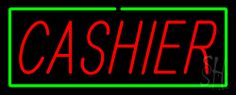 Cashier Neon Sign with Green Border 13 Tall x 32 Wide x 3 Deep, is 100% Handcrafted with Real Glass Tube Neon Sign. !!! Made in USA !!!  Colors on the sign are Green and Red. Cashier Neon Sign with Green Border is high impact, eye catching, real glass tube neon sign. This characteristic glow can attract customers like nothing else, virtually burning your identity into the minds of potential and future customers.