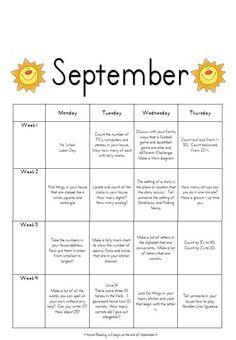 First grade homework calendar