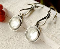 Icicles - Ice Quartz Earrings in Oxidzed Silver, Long Dangles Handmade in Silver, Rustic Artisan, Stylish