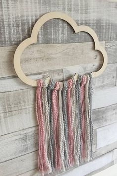 Cloud Wall Hanger, Cloud Decor, Girls Bedroom, Scandi Style Decor, Dreamcatcher Mobile, Baby Girls Gift, Cloud Theme Nursery, Cloud Bedroom This lovely wooden cloud wall hanger is made with pink, grey and an off cream colour. A simple yet beautiful design, perfect for a baby