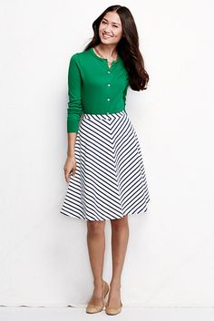 Women's Knit A-line Skirt - Chevron Stripe from Lands' End {Looking for some casual patterned skirts that hit just above the knee for the spring. I like larger chevron on a skirt or dress like this, but hate the smaller chevron print.}