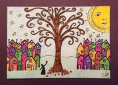 ATC ~ Created by me using RubberMoon Art Stamps