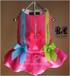 Couture Pink Voltage Dog Harness Dress- Shop By Designer - Roxy & Lulu Posh Puppy Boutique