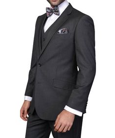 Charcoal Hairline Stripe Wool Two-Piece Suit #zulily #zulilyfinds