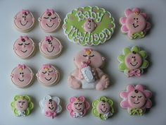 Variety of Decorated Sugar Cookies With Royal Icing Baby Faces, Baby, and Monogrammed Cookie. Mini Cookies, Fancy Cookies, Cute Cookies, Cupcake Cookies, Sugar Cookies, Icing Cupcakes, Galletas Cookies, Baby Shower Cookies, Cookie Frosting