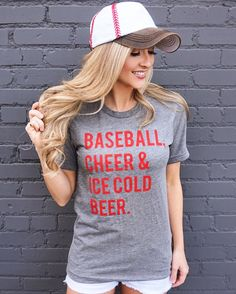 Perfect for the ballpark! You won't want to take off this best-selling unisex tee, featuring a uniquely soft tri-blend fabrication, modern fit, crew neck and short sleeves. #Baseball #LiveLove Gameday #Cheer #BaseballCheerAndIceColdBeer #BaseballAndBeer #Beer #BeerAndCheer #BaseballSeason #BaseballTee