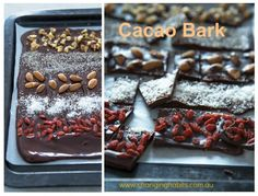Cacao bark - for afternoon tea, desserts, gifts and christmas! Raw Desserts, Paleo Dessert, Just Desserts, Dessert Recipes, Raw Food Recipes, Yummy Recipes, Cooking Recipes, Yummy Food, Healthy Recipes
