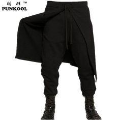Punkool 2016 New Hot fresco Mens Gothic Punk Harem Pants Hiphop roupas magro saia vestido calças calças falso 2 peças