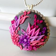 Deep Reef NECKLACE clay embroidery & rhinestone by Anca Pe'elma, $45.00