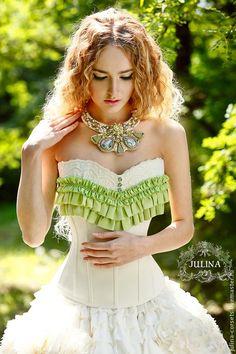 """Купить Корсет """"Мотылек"""" - белый, салатовый, зеленый, девушка, весна, лето, легкость, фея, принцесса"""