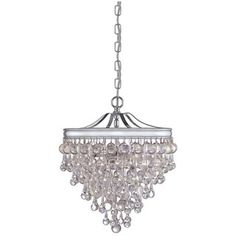 @Overstock - Includes 72 inches of chain and 120 inches of wire  Setting: Indoor    Fixture finish: Polished chrome    Shades: Smooth glass balls    Number o...http://www.overstock.com/Home-Garden/Crystorama-Chloe-Polished-Chrome-3-light-Pendant/6391243/product.html?CID=214117 $423.00