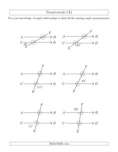 FREE PARALLEL LINES WITH TRANSVERSALS EXTRA PRACTICE WORKSHEET ...