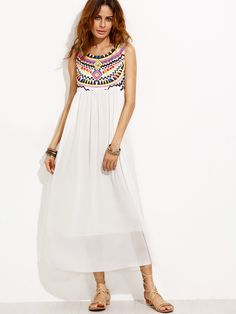 Buy it now. White Tribal Print Chiffon Dress. White Vintage Chiffon Round Neck Sleeveless A Line Long Tribal Print Fabric has no stretch Summer Tank YES Dresses. , vestidoinformal, casual, camiseta, playeros, informales, túnica, estilocamiseta, camisola, vestidodealgodón, vestidosdealgodón, verano, informal, playa, playero, capa, capas, vestidobabydoll, camisole, túnica, shift, pleat, pleated, drape, t-shape, daisy, foldedshoulder, summer, loosefit, tunictop, swing, day, offtheshoulder, s...
