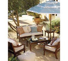Love the decomposed granite patio    Three-Tiered Round Market Umbrella | Pottery Barn