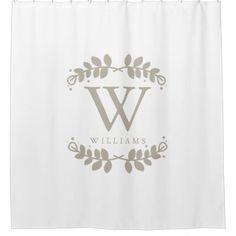 Linen Beige Monogram Shower Curtain