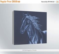 Easter gift On Sale Art painting Horse painting Personalized gift Oil painting Horse portrait Wall decor ART  Black horse Original art (63.00 USD) by OilpaintingsChrista